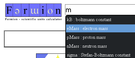 Fermion: A simple online physics calculator that helps you find your constants